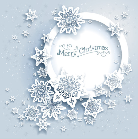christmas paper: Winter holiday round frame. Snowflakes holiday card for web, banner, invitation, leaflet and so on. Christmas background.