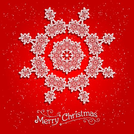 fiambres: Día de fiesta del copo de nieve blanco sobre fondo rojo. Copo de nieve ornamental sobre fondo rojo. Copo de nieve en Big. Diseño para la tarjeta, bandera, invitación, folleto y así sucesivamente.