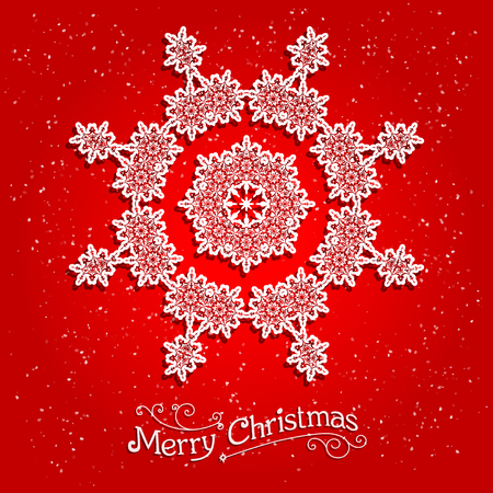 cold cuts: Holiday white snowflake on red background. Ornamental snowflake on red background.  Big holiday snowflake. Design for card, banner, invitation, leaflet and so on.