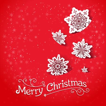 fiambres: Fondo rojo con los copos de nieve. Diseño de la Navidad para la tarjeta, bandera, invitación, folleto y así sucesivamente. Vectores