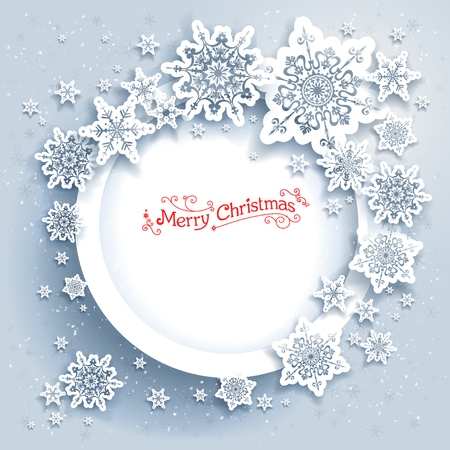 Snowflakes holiday frame. Winter holiday card for web, banner, invitation, leaflet and so on. Christmas background.
