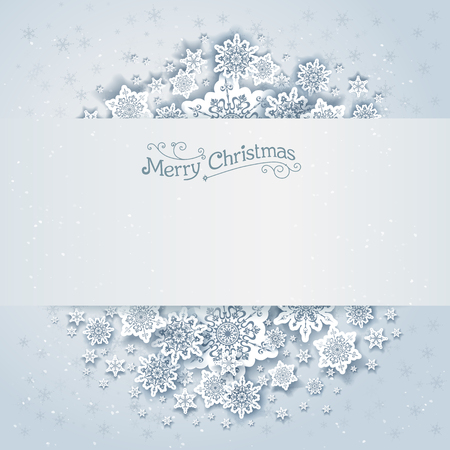 Christmas snowy vector background. Holiday design for card, banner, invitation, leaflet and so on. Illustration