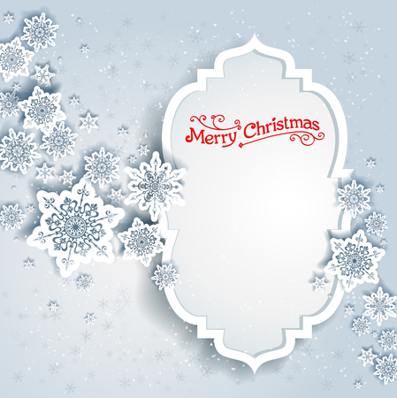 cold cuts: Snowy winter frame. Holiday design for card, banner, invitation, leaflet and so on.