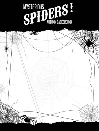 cobwebby: Black and white illustration spiders and web. Design for card, banner, invitation, leaflet and so on.