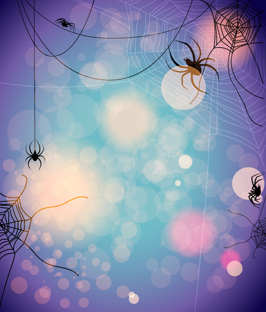 cobwebby: Mysterious background with spiders. Design for card, banner, invitation, leaflet and so on.