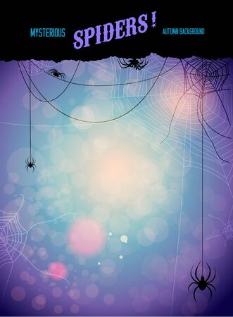 arachnid: Mysterious spiders background. Design for card, banner, invitation, leaflet and so on. Illustration