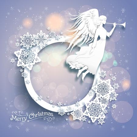 Kerst achtergrond met silhouet van een engel op een besneeuwde achtergrond. Luxe Kerstmis ontwerp voor kaart, banner, ticket, folder en ga zo maar door. Stock Illustratie