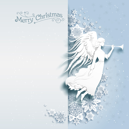 Christmas card with silhouette of an angel on a snowy background. Luxury Christmas design for card, banner,ticket, leaflet and so on. Vectores