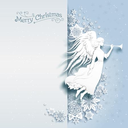 Weihnachtskarte mit Silhouette eines Engels auf einem verschneiten Hintergrund. Luxus-Weihnachtsentwurf für Karte, Banner, Ticket, Prospekt und so weiter. Standard-Bild - 49779579