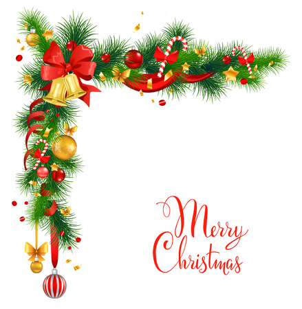 Christmas decorations with bells. Holiday background  for design card, banner,ticket, leaflet and so on. Çizim