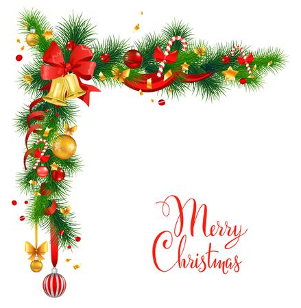 dekoration: Weihnachtsdekorationen mit Glocken. Urlaub auf dem Hintergrund für Design-Karte, Banner, Ticket, Prospekt und so weiter. Illustration