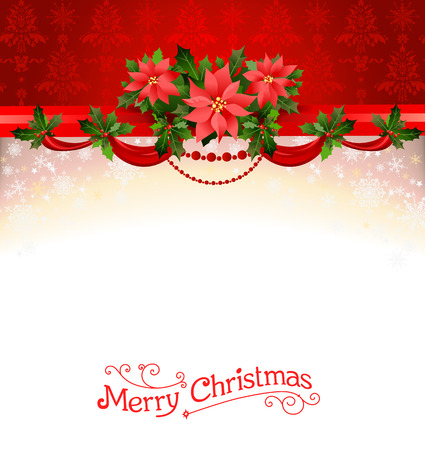 Holiday background with poinsettia. Christmas decoration for design card, banner,ticket, leaflet and so on.