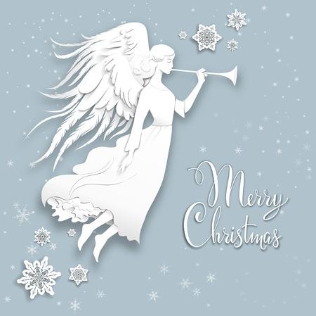 Silhouette d'un ange sur un fond neigeux. Luxe conception de Noël pour la carte, bannière, billet, dépliant et ainsi de suite. Banque d'images - 49779591