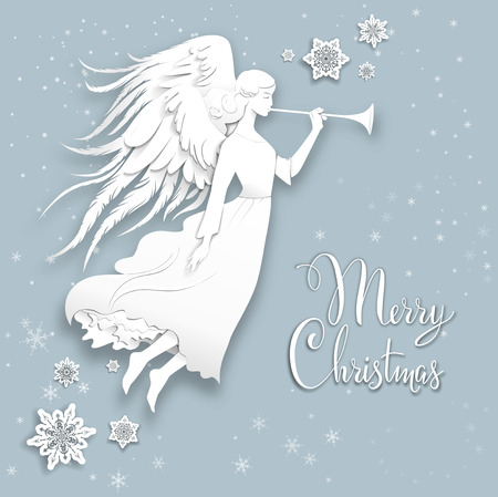 angel white: Silhouette of an angel on a snowy background. Luxury Christmas design for card, banner,ticket, leaflet and so on.