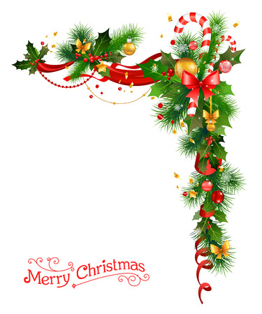 Holiday decorations with Christmas tree, holly and candy cane.Festive corne for design card, banner,ticket, leaflet and so on. 向量圖像