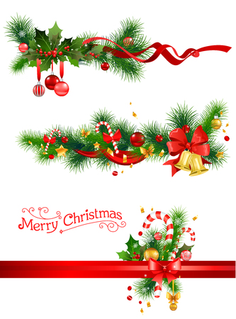 Holiday decorations with spruce tree, bells and candy cane. Christmas elements  for design card, banner,ticket, leaflet and so on. Vectores