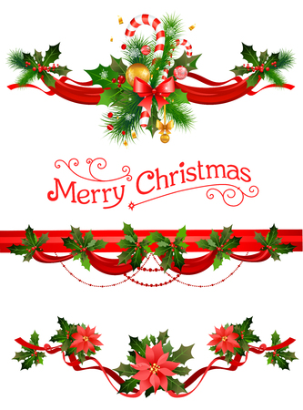 Christmas decorations. Holiday elements  for design card, banner,ticket, leaflet and so on. 矢量图像