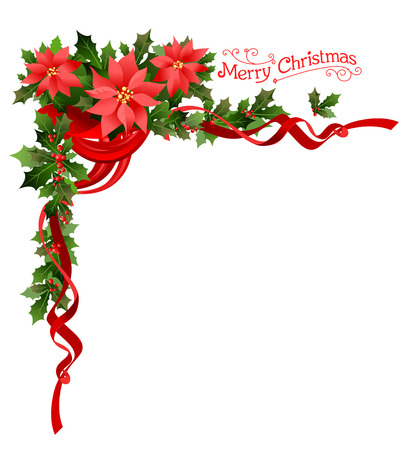 Poinsettia holiday corner. Holiday elements  for design card, banner,ticket, leaflet and so on.