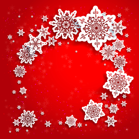 fiambres: Marco de los copos de nieve sobre fondo rojo. De fondo de Navidad para tarjeta de diseño, bandera, folleto y así sucesivamente.