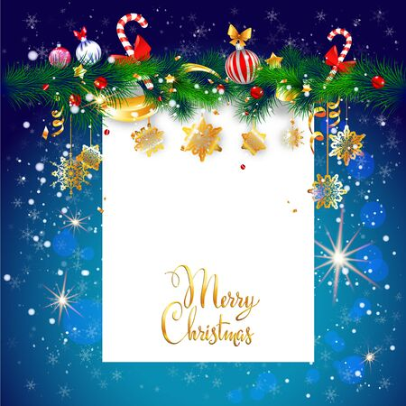 for text: Blue winter holiday background with place for text. Christmas design for card, banner,ticket, leaflet and so on.