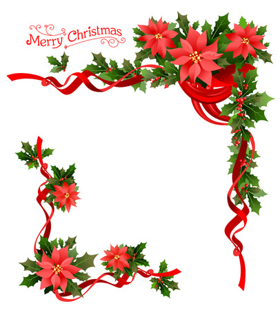 Christmas poinsettia corner. Holiday elements  for design card, banner,ticket, leaflet and so on.