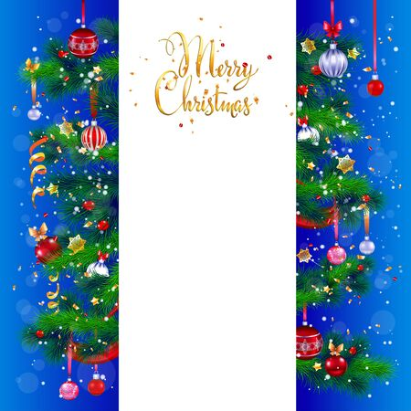 tree design: Merry Christmas card with place for text. Festive Christmas tree and decoration. Design for card, banner,ticket, leaflet and so on. Illustration