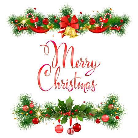 Merry Christmas pine decoration for design card, banner,ticket, leaflet and so on. Vectores