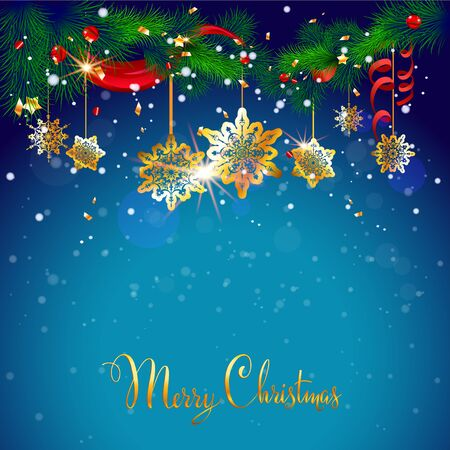 for text: Blue Christmas background with place for text. Festive design for card, banner,ticket, leaflet and so on.