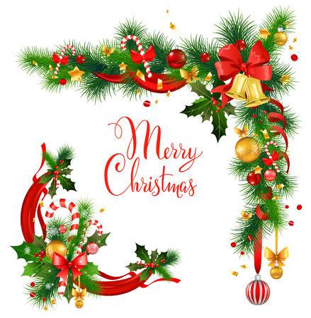 Navidad esquina decorativo con las campanas. Fondo de vacaciones para tarjeta de diseño, bandera, boleto, folleto y así sucesivamente. Foto de archivo - 49779609