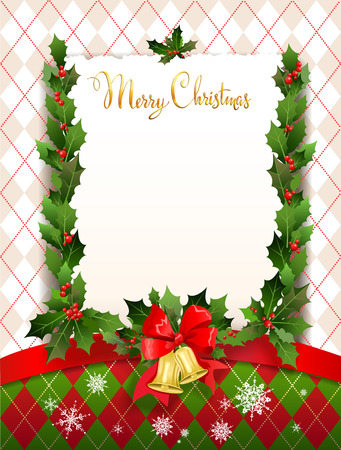 garland border: Holiday card with christmas decoration. Place for text. Festive decoration for design card, banner,ticket, leaflet and so on. Illustration