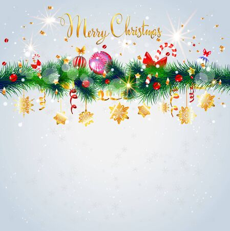 christmas candy: Light Christmas card with decoration. Happy holiday background with place for text. Christmas design for card, banner,ticket, leaflet and so on.