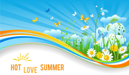 Hot summer banner. Nature template for design banner, ticket, leaflet, card, poster and so on. Illustration