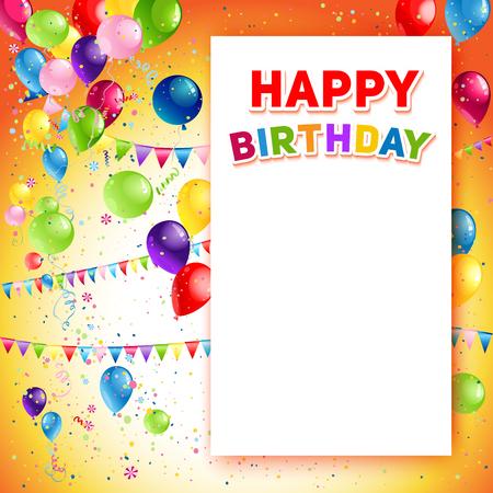 Vakantie sjabloon voor het ontwerp banner, kaartje, brochure, kaart, poster en ga zo maar door. Happy birthday achtergrond en ballonnen Stock Illustratie