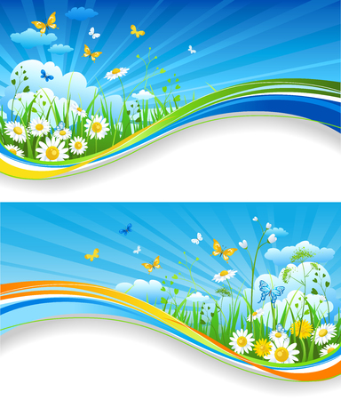 Nature template for design banner, ticket, leaflet, card, poster and so on Illustration