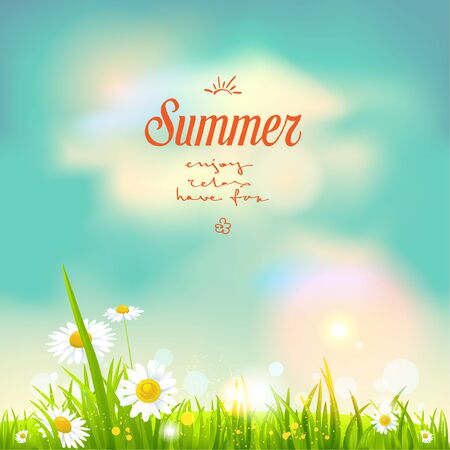 Summer flowers. Nature template for design banner, ticket, leaflet, card, poster and so on