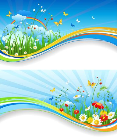 abstract flowers: Nature template for design banner,ticket, leaflet, card, poster and so on Illustration