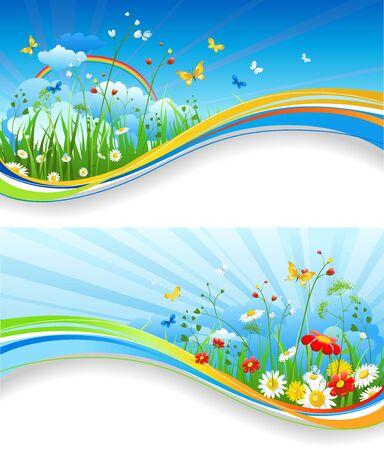 Nature template for design banner,ticket, leaflet, card, poster and so on Illustration