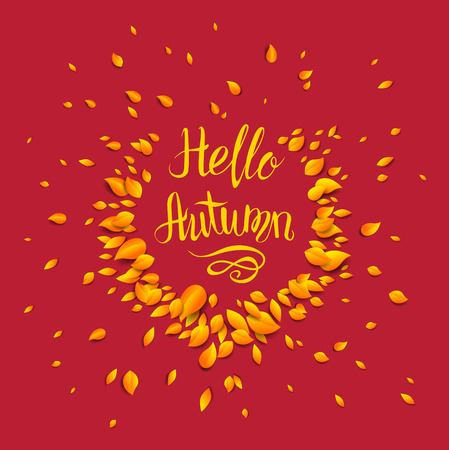 brown: Autumn lettering template for design banner Illustration