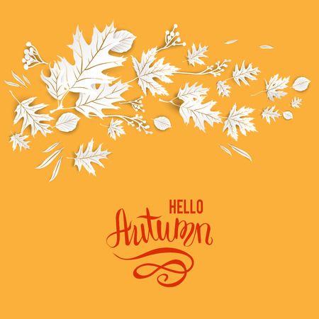 wind down: Autumn leaves card template for design banner