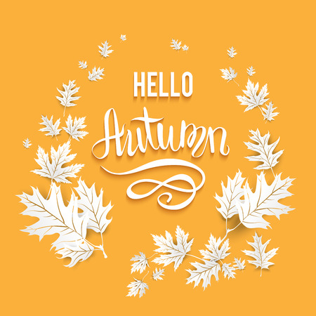 wind down: Fall leaves template for design banner