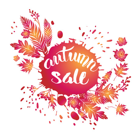 Fall leaves sale template for design banner
