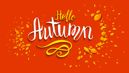 Hello autumn lettering template for design banner