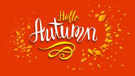 Hello autumn lettering template for design banner