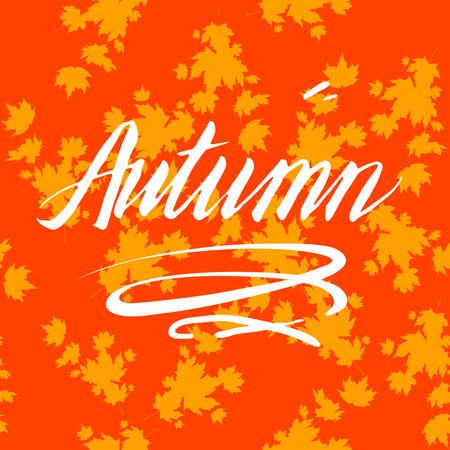 Orange background and lettering Illustration