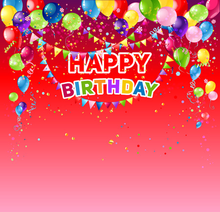 festive background: Red birthday card. Positive background with balloons