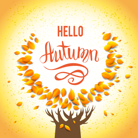 wind down: Autumn tree template for design banner Illustration