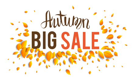 leaf: Autumn sale template for design banner, ticket, leaflet, card, poster and so on.