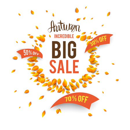 Autumn sale template for design banner, ticket, leaflet, card, poster and so on.