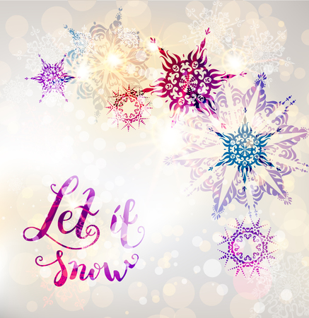 Winter ornamental snowflakes background for holiday invitation or card. Holiday background for design banner, ticket, leaflet and so on.