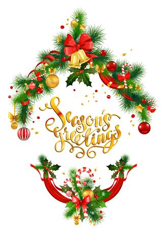 Christmas tree decoration for holiday invitation or card. Holiday background for design banner, ticket, leaflet and so on.